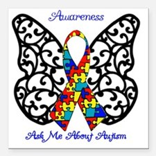 "Autism Awareness Butterf Square Car Magnet 3"" x 3"""