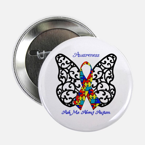 """Autism Awareness Butterfly 2.25"""" Button"""