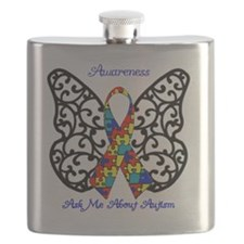 Autism Awareness Butterfly Flask