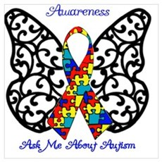 Autism Awareness Butterfly Framed Print