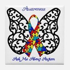 Autism Awareness Butterfly Tile Coaster
