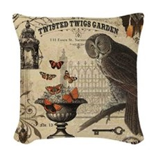 Modern Vintage Halloween Owl Woven Throw Pillow