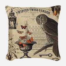 Modern Vintage Halloween Owl Woven Throw Pillow