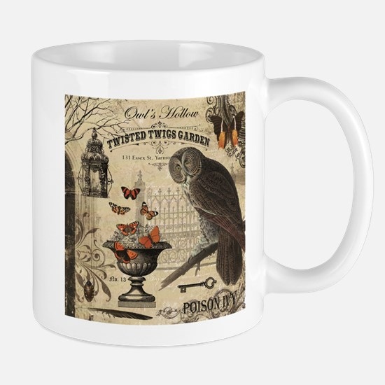 Modern Vintage Halloween Owl Mugs