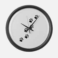 Cartoon Dog Paw Track Large Wall Clock