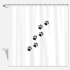 Cartoon Dog Paw Track Shower Curtain