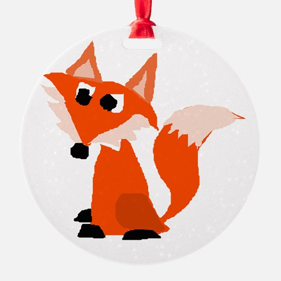 Cute Red Fox Cartoon Ornament
