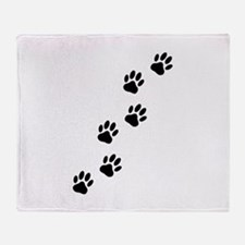 Cartoon Dog Paw Track Throw Blanket