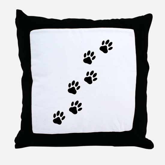 Cartoon Dog Paw Track Throw Pillow