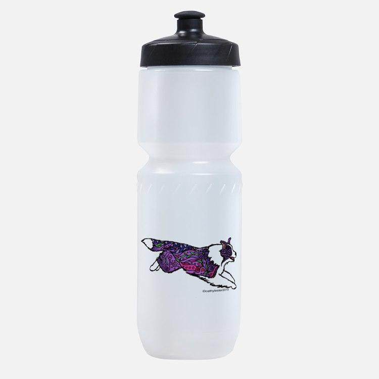 Zentangle Border Collie Sports Bottle