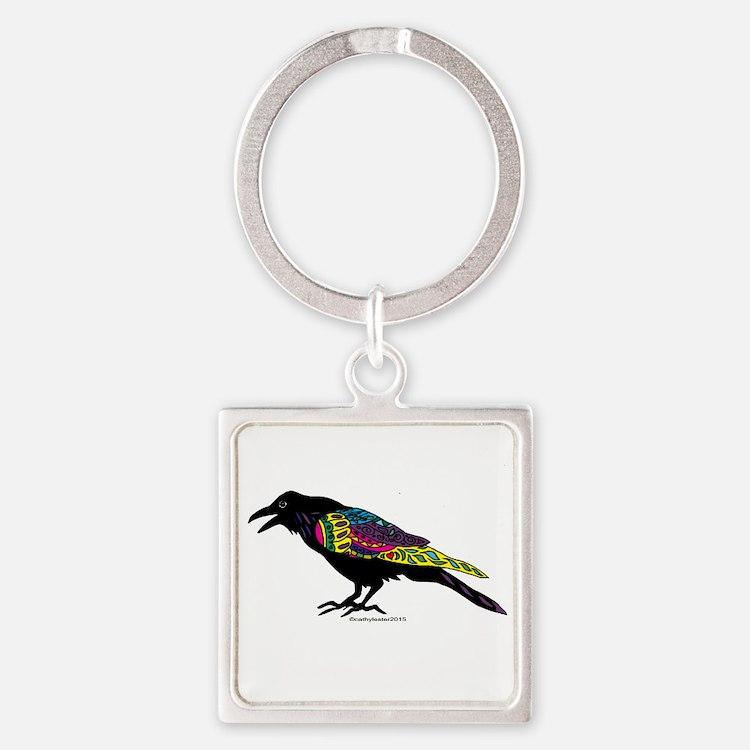 Zentangle Crow Square Keychain