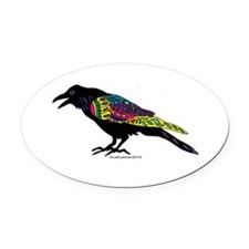 Zentangle Crow Oval Car Magnet