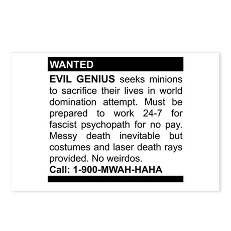 Evil Genius Personal Ad Postcards (Package of 8)
