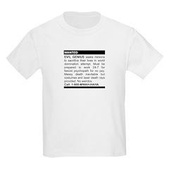 Evil Genius Personal Ad Kids Light T-Shirt