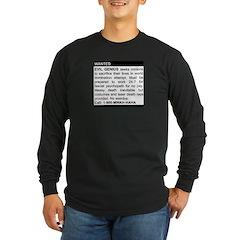 Evil Genius Personal Ad Long Sleeve Dark T-Shirt