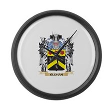 Oldham Coat of Arms - Family Cres Large Wall Clock