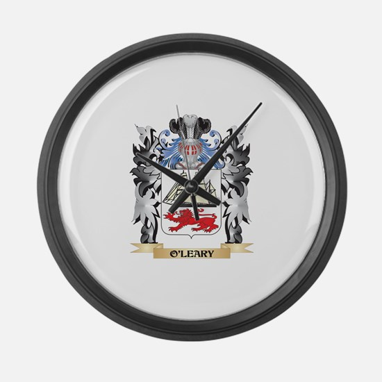 O'Leary Coat of Arms - Family Cre Large Wall Clock