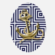 gold anchor blue geometric pattern Oval Ornament