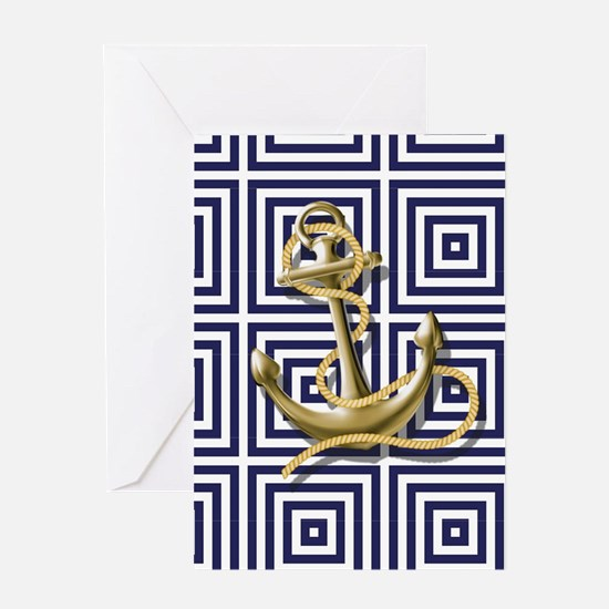 gold anchor blue geometric pattern Greeting Cards