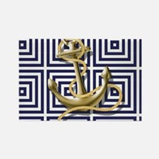 gold anchor blue geometric pattern Magnets