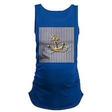 blue pin stripes beach anchor Maternity Tank Top