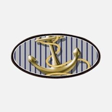 blue pin stripes beach anchor Patch