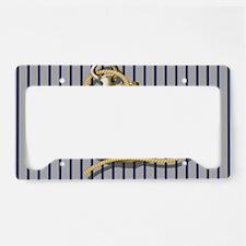 blue pin stripes beach anchor License Plate Holder
