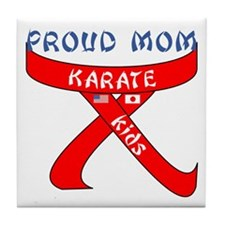 Proud Mom Karate Kids Tile Coaster