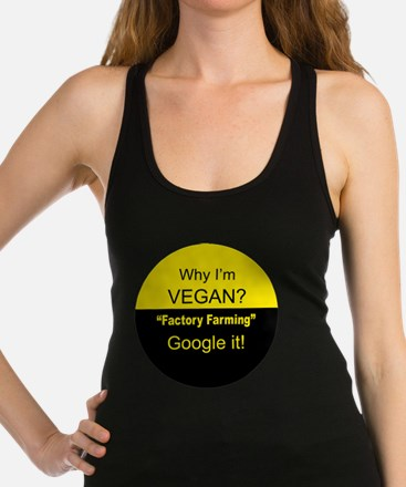 Funny Animal rights no meat Racerback Tank Top
