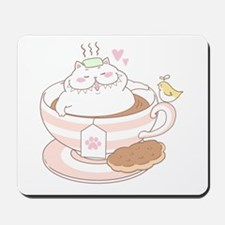 Great Chubby Cat in a teacup Mousepad