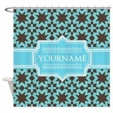 Turquoise and Brown Pattern Persona Shower Curtain