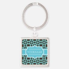 Turquoise and Brown Pattern Person Square Keychain