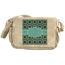 Turquoise and Brown Pattern Personal Messenger Bag