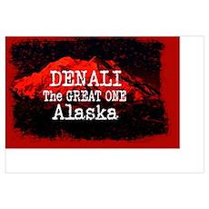 DENALI MOUNTAIN ALASKA RED Poster