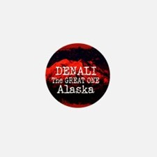 DENALI MOUNTAIN ALASKA RED Mini Button (100 pack)