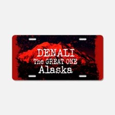 DENALI MOUNTAIN ALASKA RED Aluminum License Plate