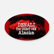 DENALI MOUNTAIN ALASKA RED Oval Car Magnet