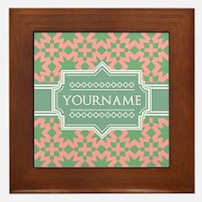 Pink Apple Green Pattern Personalized Framed Tile