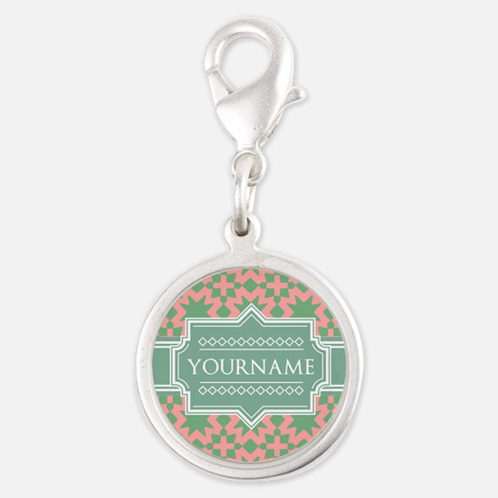 Pink Apple Green Pattern Pers Silver Round Charm