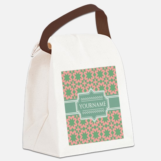 Pink Apple Green Pattern Persona Canvas Lunch Bag