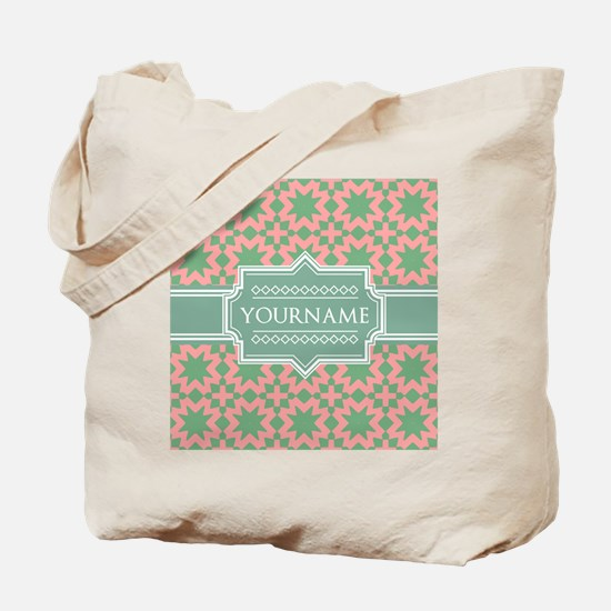 Pink Apple Green Pattern Personalized Tote Bag