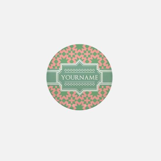 Pink Apple Green Pattern Personalized Mini Button