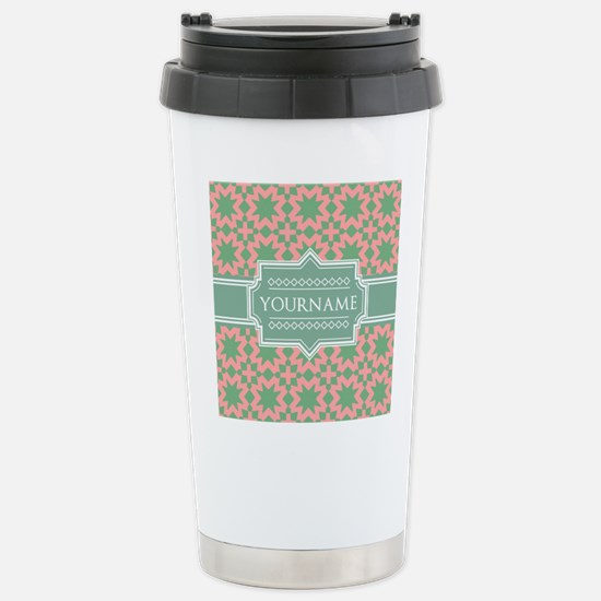 Pink Apple Green Patte Stainless Steel Travel Mug