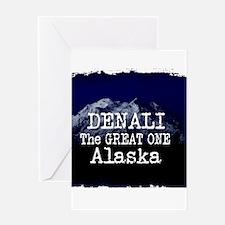 DENALI MOUNTAIN ALASKA BLUE Greeting Cards