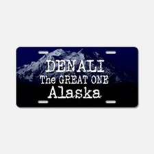 DENALI MOUNTAIN ALASKA BLUE Aluminum License Plate