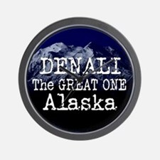 DENALI MOUNTAIN ALASKA BLUE Wall Clock