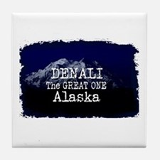 DENALI MOUNTAIN ALASKA BLUE Tile Coaster