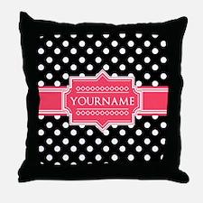 Chic Polka Dot Monogram Throw Pillow