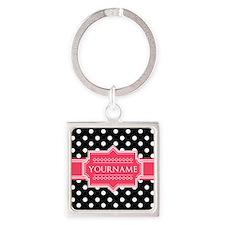 Chic Polka Dot Monogram Square Keychain