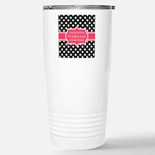 Chic Polka Dot Monogram Stainless Steel Travel Mug
